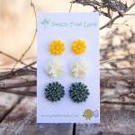Mustard Yellow Daisy Earring Post, ..