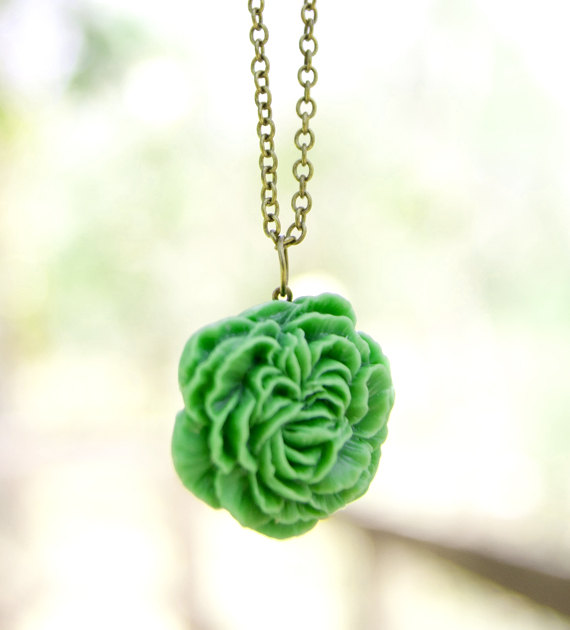 Green Matte Peony Flower Necklace, Vintage Style with Antique Brass Chain - Pear Tree