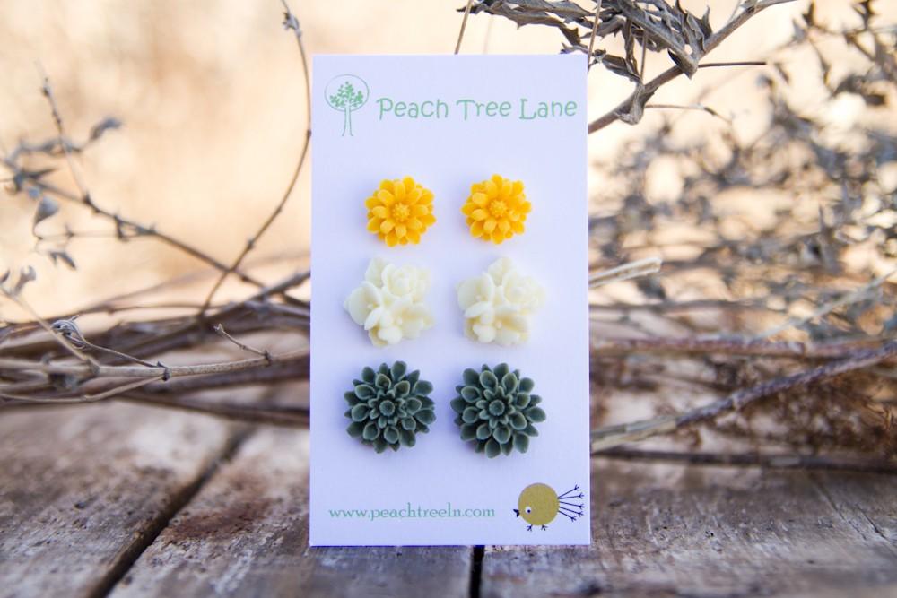 Mustard Yellow Daisy Earring Post, Cream-Ivory Flower Earring, Green-Moss Chrysanthemum Post Earring - Spring