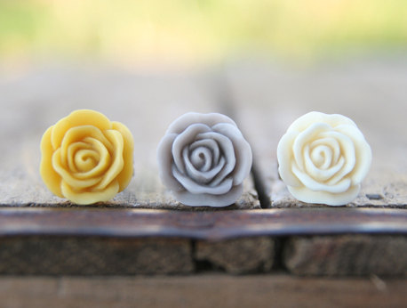Mustard Yellow Rose Flower Cream Ivory Grey Assorted Ring Trio