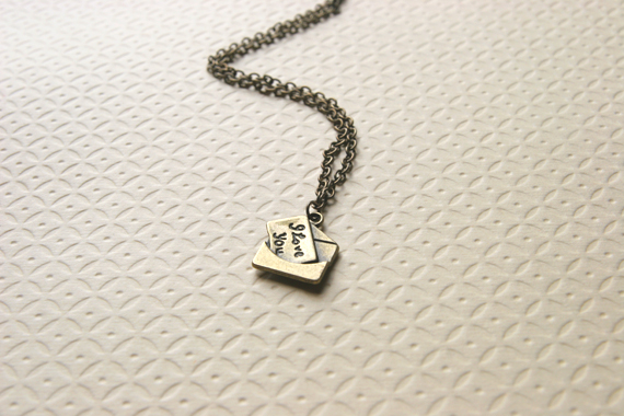 Love letter necklace i love you necklace antique brass bridesmaid love letter necklace i love you necklace antique brass bridesmaid gifts i love you letter thecheapjerseys Image collections