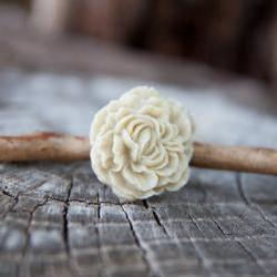 Ivory-Cream Peony Flower Antique Brass Adjustable Ring - Pearl