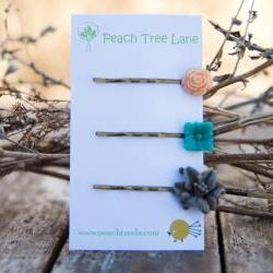 Grey Lily, Turquoise-Aqua, & Peach Rose Cabochon Flower Hairpins Maid of Honor Gifts - Dew