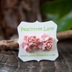 Pale Pink Flower Stud Earrings Vintage Style with Nickel Free Posts - Blush