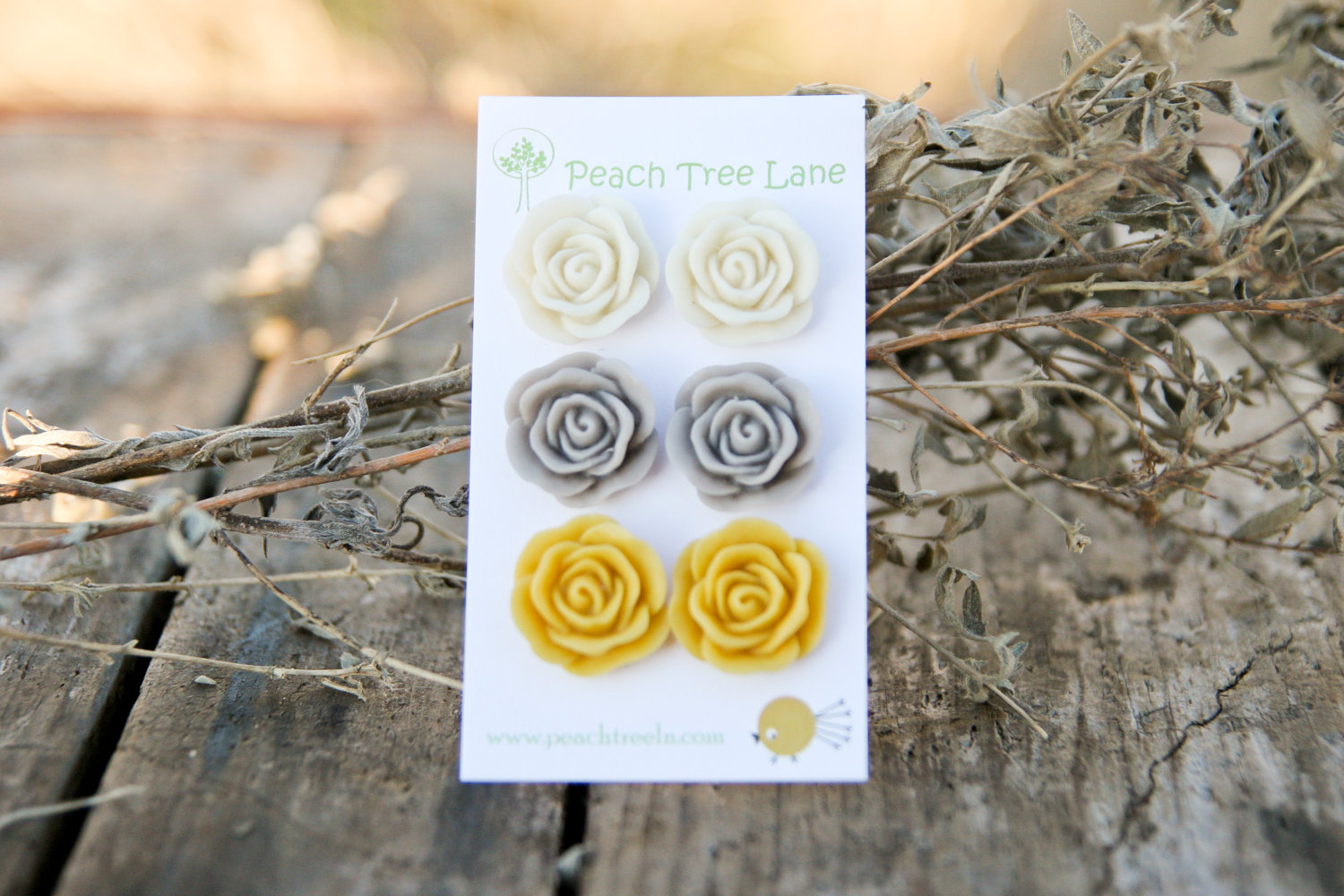 Large Rose Mustard Yellow Cream Grey Stud Earrings Perfect For Bridesmaid Gifts Or Bridal Jewelry On Luulla